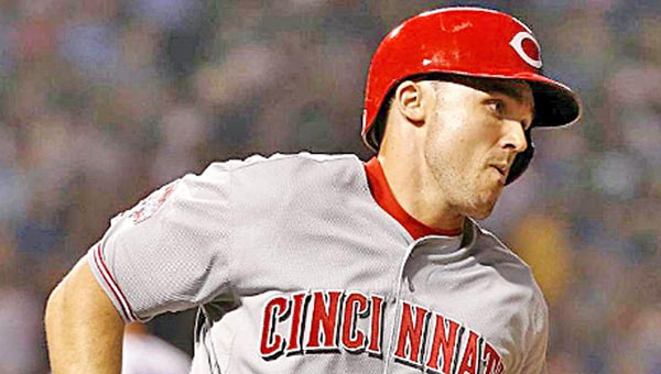 Cincinnati's Adam Duvall hit a two-run pinch-hit home run in a four-run sixth inning as the Reds beat the Chicago Cubs 13-6 on Monday. It was Duvall's first at-bat as a Red. (Photo Courtesy of The Cincinnati Reds.com)