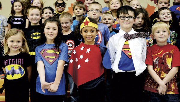 Students at Chesapeake Elementary wore superhero-themed clothing on Tuesday as part of Red Ribbon Week, a campaign to educate children on the dangers of substance abuse.