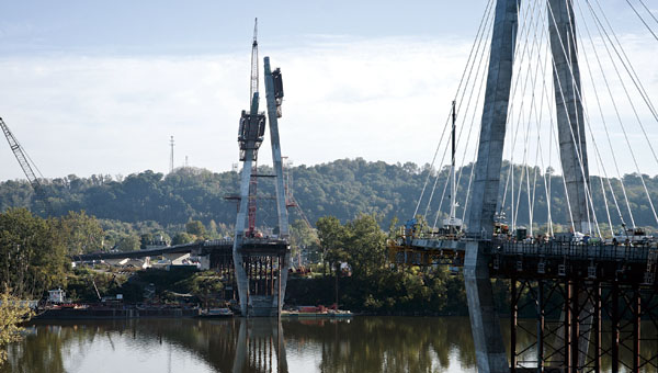 The new Ironton-Russell Bridge being constructed.