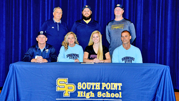 South Point Lady Pointers' senior shortstop Haley Rawlins signed a letter-of-intent on Friday to play softball at Shawnee State University. Attending the ceremony were: seat left to right, Shawnee State head coach Steve Whittaker, mother Cheryl Rawlins, Haley and father Eric Rawlins; standing from left to right, athletic director Dave Adams, South Point head coach Tanner Heaberlin and assistant coach Mark Winkler. (Kent Sanborn of Southern Ohio Sports Photos)