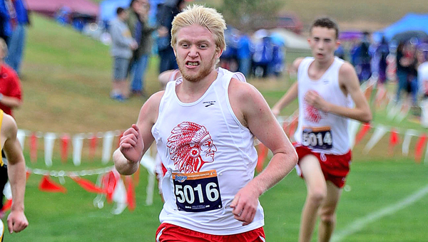 Rock Hill Redmen senior runner Nathan Turvey helped his team win the Division III District 2 cross country the district meet at Rio Grande on Saturday. (Kent Sanborn of Southern Ohio Sports Photos)
