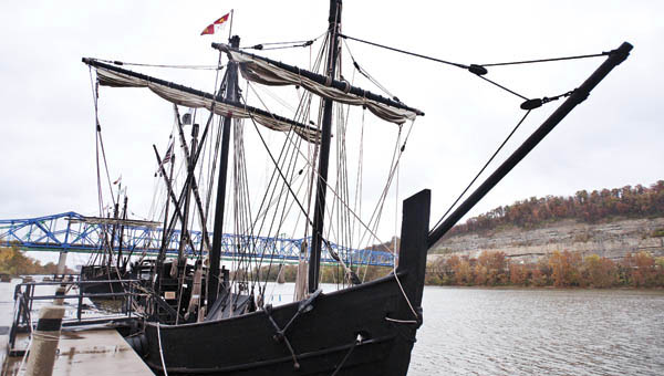 Replicas of the Nina and Pinta tall ships, Nina shown front, are currently on display at Ashland Riverfront Park for the upcoming week.