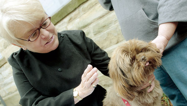 Priest in charge Sally Schisler performs a pet blessing on a Shih Tzu named Obama during the annual ceremony at the Christ Episcopal Church in Ironton.