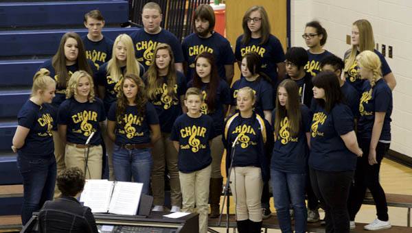 """South Point High's choir sings """"My America"""" at a Veterans Day program at the school on Wednesday."""