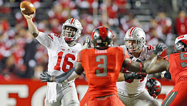 Ohio State Buckeyes' coach Urban Meyer admitted Tuesday that quarterback J.T. Barrett (16) gives the team the best chance at winning. (Photo Courtesy of Ohio State University.com)