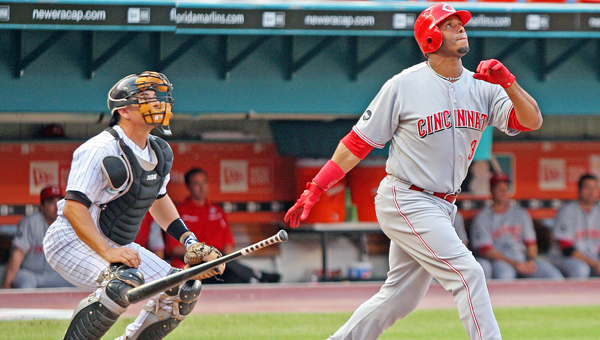 Former Cincinnati Reds' outfielder watches as he launches a home run. Griffey is among the top newcomers on the Major League Baseball Hall of Fame ballot. (Photo Courtesy of The Cincinnati Reds.com)