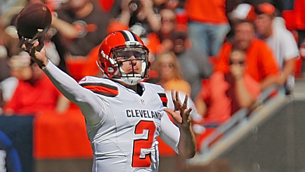 Cleveland Browns quarterback Johnny Manziel fires a pass during the second quarter during a game against Tennessee earlier this season. Manziel has been named the Browns' starter for the rest of the season. (MCT Direct Photos)