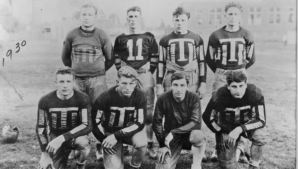 """Members of the 1930 Ironton Tanks semi-professional football team backfield including Glenn Presnell (front row second from left). The Tanks will be featured in the documentary """"Before The League"""" Tuesday and Wednesday on Ohio University Southern TV Channel 25."""