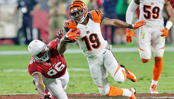 Cincinnati Bengals' wide receiver Brandon Tate (19) runs for yardage after the catch during Sunday's nights game against the Arizona Cardinals. The Bengals fell 34-31 for their second straight loss. (Photo Courtesy of The Cincinnati Bengals.com)