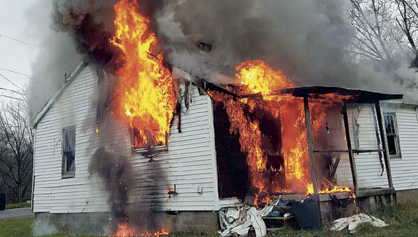 A Home on Ridgeway Street in Coal Grove catches fire Monday afternoon.