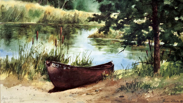 "A watercolor piece by Steele titled ""Sandy's Boat"" currently on display at the Ironton Briggs Library."