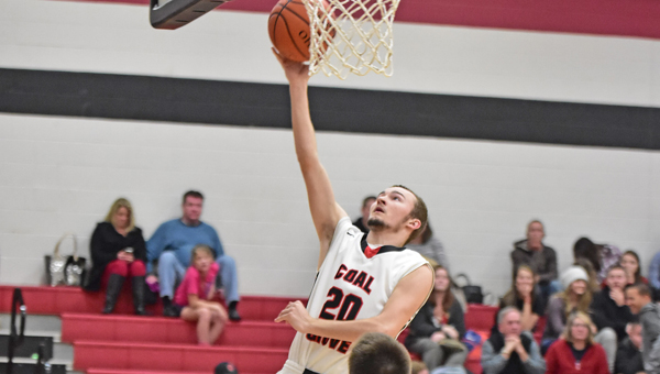 Coal Grove Hornets' Dalton Miller (20) makes a driving layup during Tuesday's game against Ironton St. Joseph. The Hornets won 66-47. (Kent Sanborn of Southern Ohio Sports Photos)