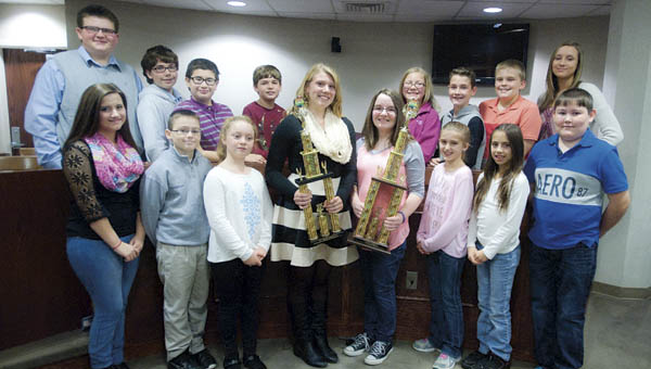 Lawrence County spelling bee participants. Holli Leep (front left) was the second place winner, while Emily Neal (front right) took first.