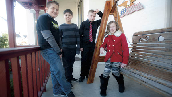 Noah Patterson, third, Merrick Loevenguth, second, Aydan Taylor, first and Laura Hamm, second, pictured left to right, are this year's historical essay contest winners. The contest was sponsored by the Lawrence County Historical Society. See Sunday's page 2C to read the winning essays.