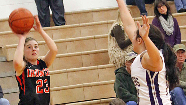 Ironton Lady Fighting Tigers' junior guard Sydney Webb (23) knocks down a 3-pointer in a 63-30 win over the Chesapeake Lady Panthers on Thursday. Webb made six 3-pointers. (Tim Gearhart of Tim's News & Novelties, Park Ave. in Ironton)