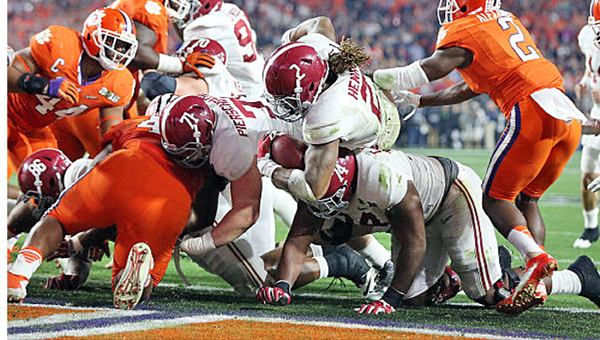 Alabama Crimson Tide running back Derrick Henry (2) scores one of his four touchdowns during Monday's College Football Playoff championship game. Alabama outlasted Clemson 45-40 to win its fourth national title in seven years. (Photo By Kent Gidley/University of Alabama)