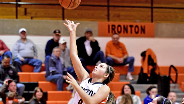 Ironton Lady Fighting Tigers'  Jordan Hannan drives for a layup during the Lady Tigers 49-25 win on Thursday. (Kent Sanborn of Southern Ohio Sports Photos)