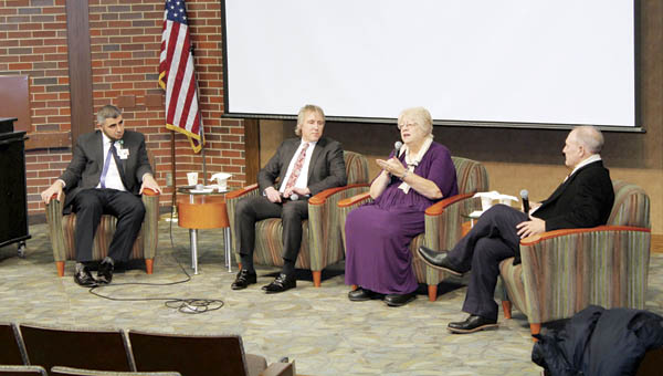 Dr. Ahmad Nusair, associate professor of medicine at Marshall University, Dr. Deron Newman, instructor at Morehead State University, the Rev. Jan Williams, retired Presbyterian pastor and moderator Dr. Charles Jarrett speak Tuesday afternoon at an interfaith dialogue at Ohio University Southern.