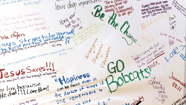 Entries on a Remembrance Board set up at Ohio University Southern honor the legacy of Dr. Martin Luther King Jr.