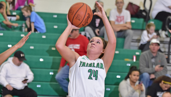 Fairland Lady Dragons' Taylor Perry (24) scored 25 points including a 3-pointer as time ran out in regulation and sent the game into overtime where Fairland beat Ashland 74-68. (Kent Sanborn of Southern Ohio Sports Photos)