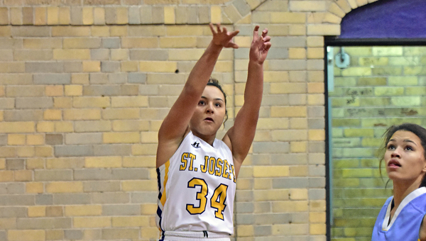 St. Joseph Female Flyers' senior Lynsey Booker scored a career-high 42 points on Tuesday in a 76-48 win over Grace Christian. (Kent Sanborn of Southern Ohio Sports Photos)