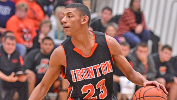 Ironton Fighting Tigers' senior Marques Davis scored a career-high 29 points in a 73-63 upset win over the Portsmouth Trojans on Tuesday. (Kent Sanborn of Southern Ohio Sports Photos)