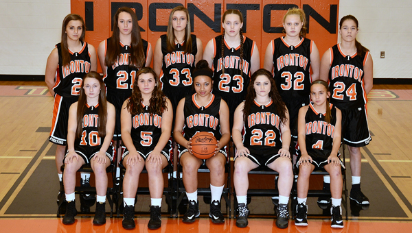 The Ironton Junior Lady Fighting Tigers' 8th grade basketball team won the Ohio Valley Conference Middle School regular season and tournament basketball championships this season. Team members are: front row from left to right, Kaitlyn Sheridan, Demi Sands, Taiya Hamlet, Peighton Rowe and Elli Williams; second row from left to right, Lydia Hannan, M'Kenzie McMaster, Mary Beth Burton, Lexie Arden, Faith Hughes and Riley Schreck. The Lady Tigers were 19-0 on the season and have a combined 37-0 record over the past two seasons. The Lady Tigers were the OVC 7th grade regular season and tournament champions last year and the group has also been part of winning the OVC volleyball regular season and tournament championships the past two years as well as the 7th grade track title. (Kent Sanborn of Southern Ohio Sports Photos)
