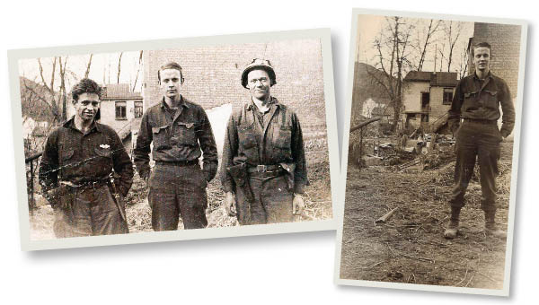 (LEFT) Don Mayne (center) with two fellow soldiers during World War II. (RIGHT) Dziagwa's father, Don Mayne, with the 95th Division in Belgium in 1945 during World War II.