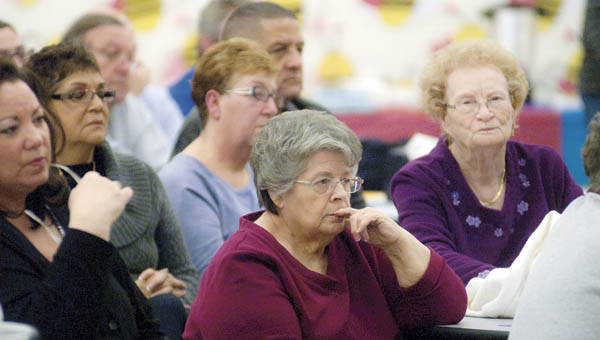 Area residents gathered in the cafetorium at Burlington Elementary School for the Meet the Candidates event Thursday. The event is sponsored by the Concerned Citizens of Burlington.