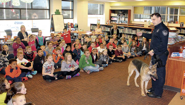 Goose, the Ironton Police Dog, was at Ironton Elementary School Tuesday with his handler, Officer John Hammonds.
