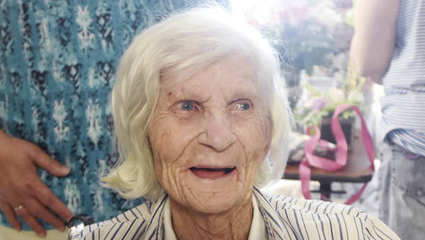 Lillian Adkins, a resident of Crystal Care in Coal Grove, celebrates her 100th birthday.