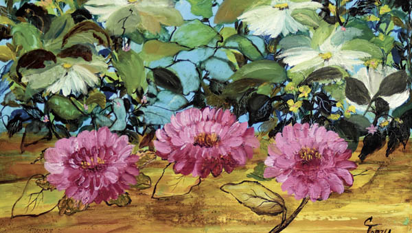 An oil painting by Carol Terry currently on display at the Ironton Briggs Library as part of a display featuring the artist.