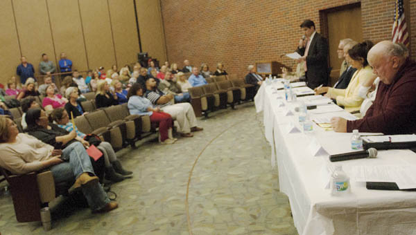 Ten candidates for Lawrence County Commissioner met in Bowman Auditorium at Ohio University Southern on Tuesday for a candidates forum hosted by AFSCME Local 3319.