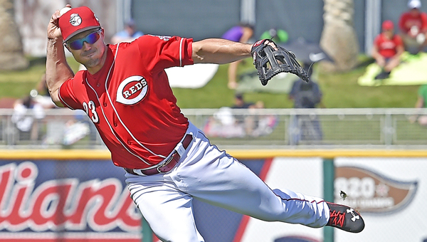 Cincinnati Reds' Adam Duvall throws out a runner during a spring training game. Duvall hit a three-run homer and drove in four runs as the Reds beat the Milwaukee Brewers 9-2 on Tuesday. (MCT Direct Photos)