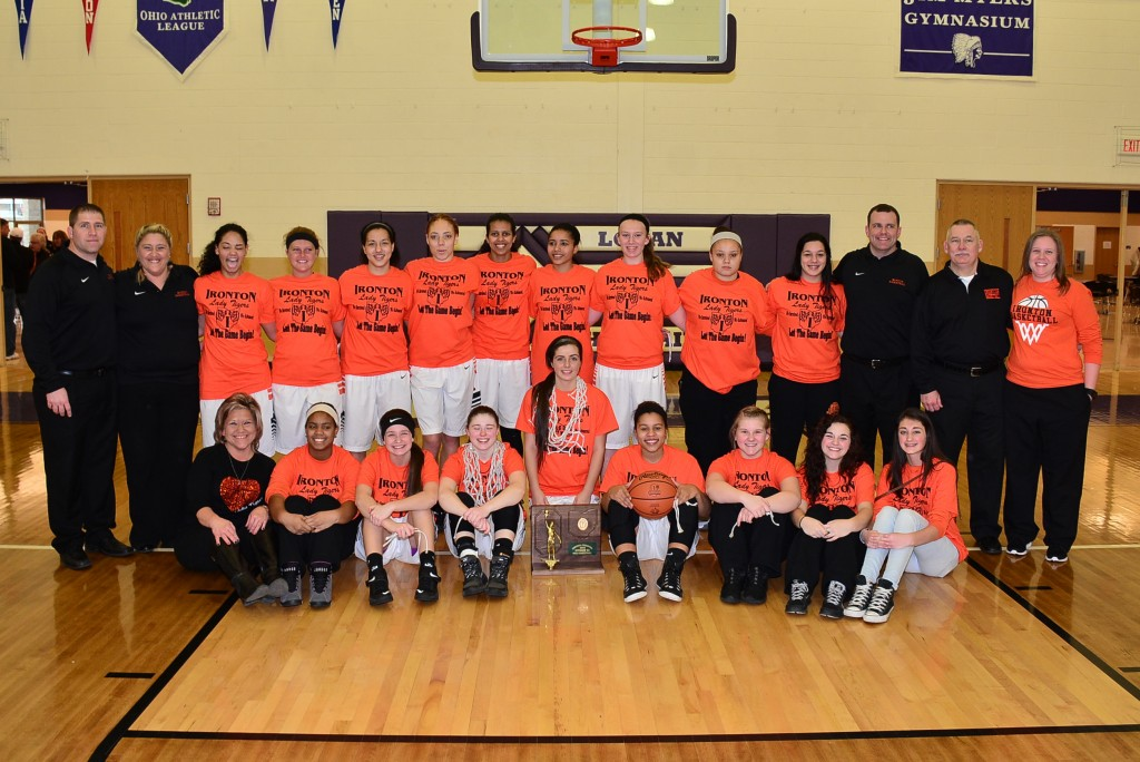 The Ironton Lady Fighting Tigers pose for a team picture after winning the Division III Regional Championship. The Lady Fighting Tigers defeated the West Lafayette Ridgewood Lady Generals 46-43 and will move on to the OHSAA Division III State Tournament.