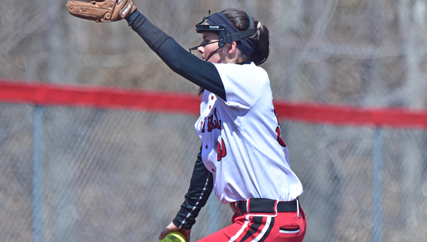 Rock Hill Redwomen senior pitcher Jill Hairston hurled a pair of one-hitters to open the season during Saturday's Queen of the Hill softball classic. (Kent Sanborn of Southern Ohio Sports Photos)
