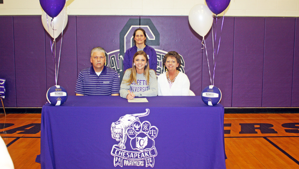Chesapeake Lady Panthers' senior volleyball standout Carley Lester signed a letter-of-intent Thursday to play at Bluffton University. Attending the signing ceremony were: seated left to right, father Kent Lester, Carley, and mother Sandy Lester; standing is Lady Panthers' coach Rebecca Cremeans. (Photo Submitted)