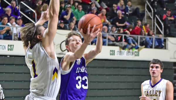 Chesapeake Panthers' Wesley Stephens (33) drives inside against Lucasville Valley's Bryce Romanello (1) and scores during a 68-52 Division III district championship game win. (Kent Sanborn of Southern Ohio Sports Photos)
