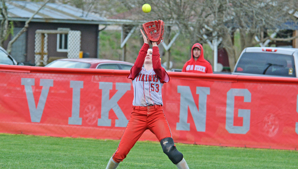 Symmes Valley Lady Vikings' outfielder Taylor Webb hauls in a catch for an out during an 11-1 win Monday. (Robert S. Stevens & The Gold Studio of Ironton)