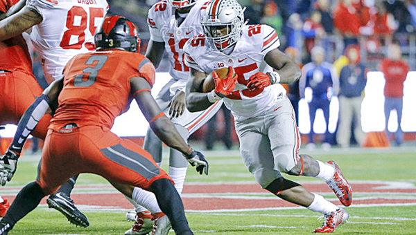 Fifth-year senior running back Bri'onte Dunn (25) is one of the leading candidates to take over the job vacated by Ezekiel Elliott who is entering the NFL draft. (Courtesy of Ohio State Buckeyes Sports Information)
