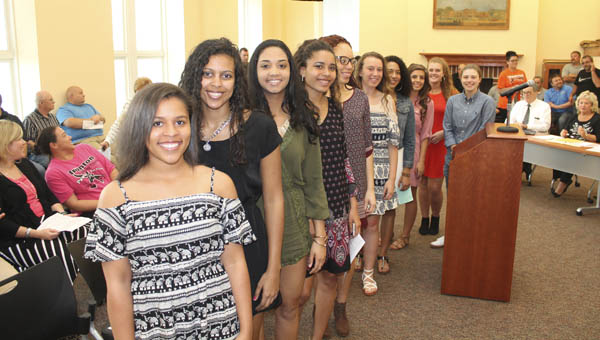 Ironton High School Lady Fighting Tigers basketball team. The team was honored Tuesday night at the Ironton Board of Education meeting.