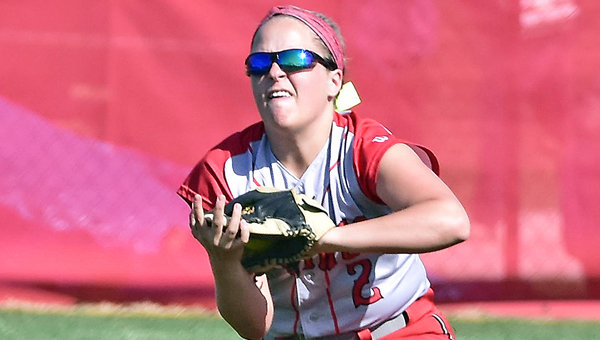 Symmes Valley Lady Vikings outfielder Hannah Mays races in and makes the catch of a fly ball during Monday's game. The Lady Vikings beat Portsmouth Notre Dame 12-0 in five innings. (Kent Sanborn of Southern Ohio Sports Photos)