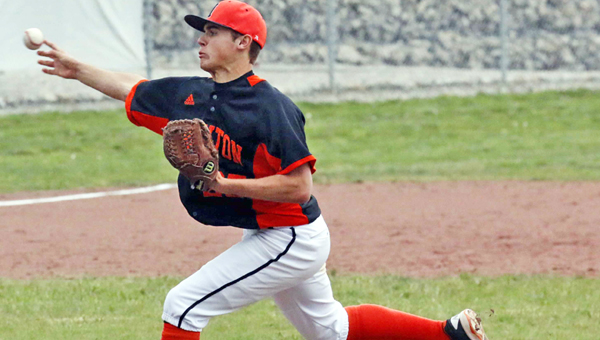 Ironton Fighting Tigers' junior pitcher Dane Wilson fired a one-hitter on Monday in a 2-0 Ohio Valley Conference win over the South Point Pointers. (Tim Gearhart of Tim's News & Novelties, Park Ave. in Ironton)