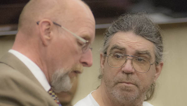 William Elkins, right, with his attorney Mike Davenport, right, during sentencing in Lawrence County Common Pleas Court. Elkins is sentenced for the murder of Ricky L. Crager in July 2015.