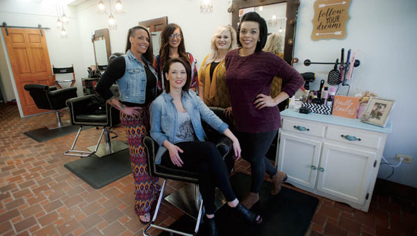 The staff of new Ironton business Meraki Studio. Pictured left to right, Maria Fuller, Casey Edwards, Paige Clifton, Chris Sammons and seated, Heather Birch.