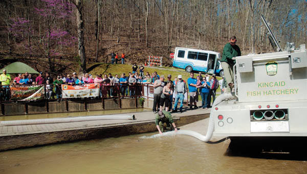 Members of the Ohio Department of Natural Resources get ready to stock Lake Vesuvius following an opening ceremony at the annual Wheelin' Sportsmen fishing event Thursday.