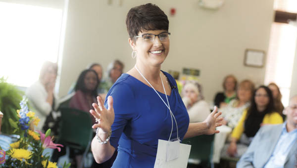 Ironton Mayor Katrina Keith addresses the crowd at the annual Women's Conference on Friday at Ohio University Southern Proctorville Center. Keith was this year's keynote speaker.