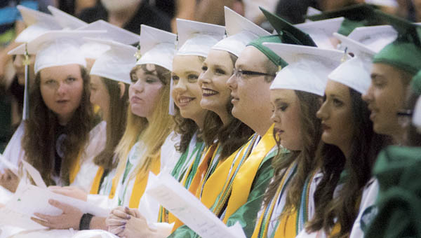 Students watch as special honors are handed out during Fairland's commencement.