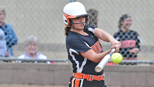Ironton Lady Fighting Tigers' first baseman Katie Burcham connects for a double during Monday's Ohio Valley Conference game. Ironton beat Portsmouth 4-3. (Kent Sanborn of Southern Ohio Sports Photos)