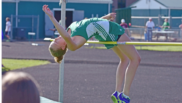 Fairland Lady Dragons Allie Marshall clears the bar as she wins the high jump event at the Ohio Valley Conference track meet on Friday. The Lady Dragons won the girls' meet. (Kent Sanborn of Southern Ohio Sports Photos)